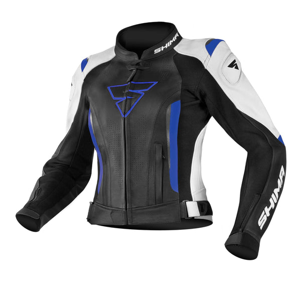 SHIMA MIURA JACKET BLUE, Sports Leather Motorcycle Women's Jacket with Protectors (32-42, Blue) Size 40
