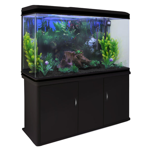 MonsterShop Fish Tank Aquarium Large Marine Tropical Salt Water & Complete Starter Kit, Filter, Air Pump, Heater/Black Cabinet, Black Gravel 4ft 300L