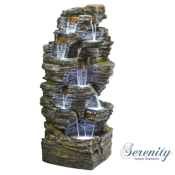 Durable Cascading Rock Waterfall, Tiered Water Feature with 7 LED Lights for Indoor & Outdoor Use (Height - 164.5cm)