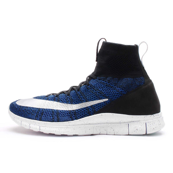 Nike Men's Free Flyknit Mercurial FC Football Boots, (Black/Racer Blue-White-Metallic Silver), 12 UK