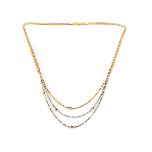 9ct Gold Tri Colour Wheat Design Chain Necklace White Gold Yellow Gold And Rose