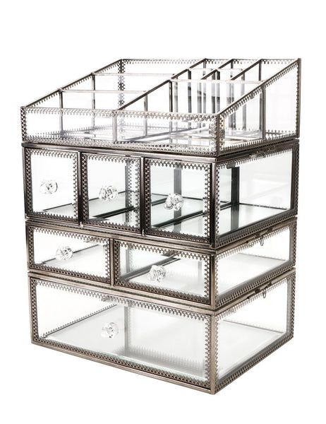 Spacious Makeup Glass Box& Brass Metal Jewelry Cosmetic Storage Bathroom Accessories Display Cabinets/Clear Drawers Dresser Organiser Set for Vanity