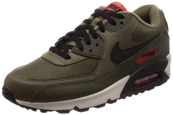 Nike Men's Air Max 90 Essential Track & Field Shoes, Multicolour (Medium Olive/Black/Team Orange 205), 8.5 UK