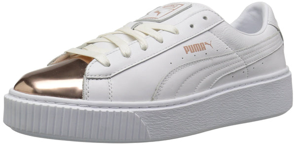 PUMA Women's Basket Platform Metallic, Puma White-Rose Gold, 6.5 M US