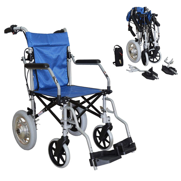 The Elite Care PowerCruise wheelchair powerpack combo - carer controlled, lightweight and folding