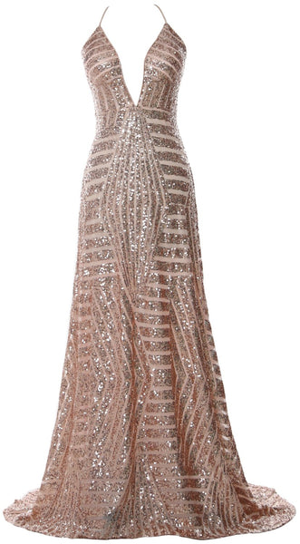 MACloth Women Deep V Neck Sequin Long Prom Dress Sexy Formal Party Evening Gown (UK22, Rose Gold)