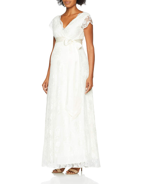 Tiffany Rose Maternity Women's Eden Maxi Dress, White (Ivory 001), 12 (Size:3)