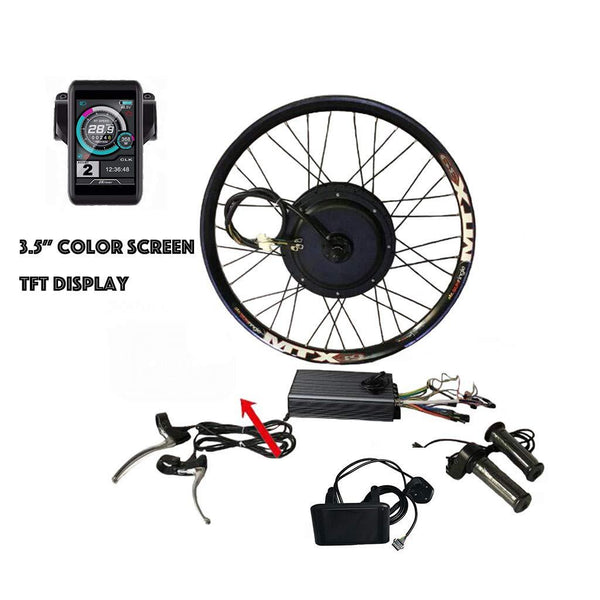 "72V5000W Electric Bicycle MTB Bike Hub Motor Conversion Kit 100Amp Sine Wave Controller + TFT Display (24"" MTX Rear Wheel, Hydraulic Disc Brake Only, No bluetooth)"