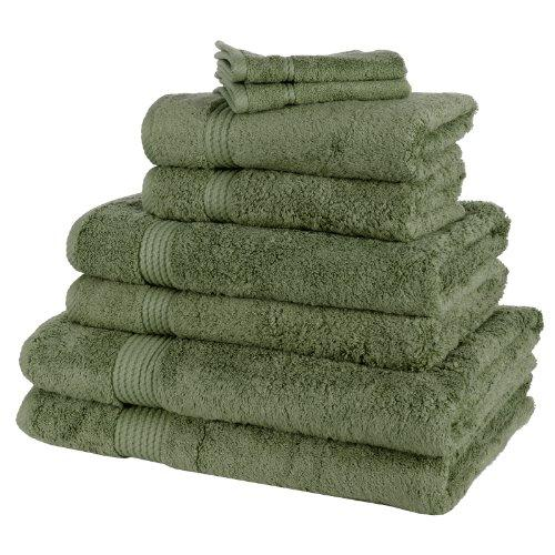 8 Piece Bamboo Bathroom Linen Face Cloth Hand Bath Sheet Towel Bale Set - Moss