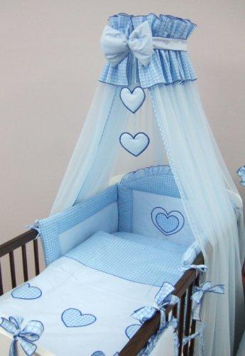 8 Piece Embroidered Baby Canopy Bedding Set (to fit COT 120 x 60 cm) Hearts - BLUE