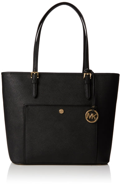 Michael Kors Womens Jet Set Large Top Zip Snap Pocket Tote Black