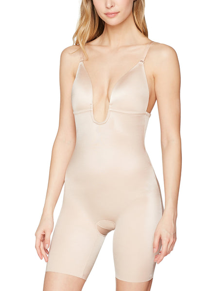 Spanx Women's Syf Plunge Low-Back Mid-Thigh Champagne Bodysuit, Beige (Champagne Beige 000), UK 16-18 UK
