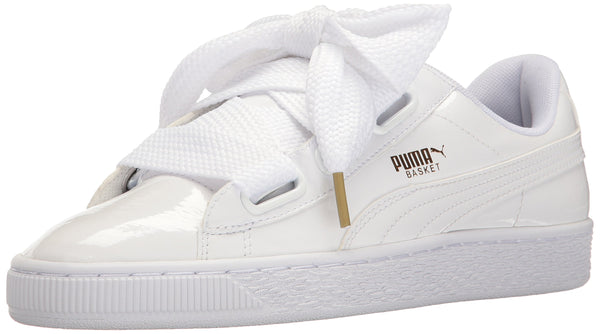 PUMA Women's Basket Heart Patent WN's Sneaker, White, 4 UK