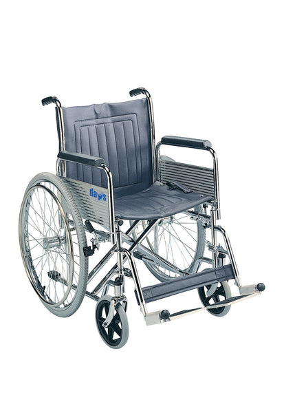"Days Heavy Duty Self-Propelled Wheelchair, 51cm (20""), Folding Back, Detachable Swing Away Footrests & Armrests, Folds for Transport, Easy for Caregiver to Push, (Eligible for VAT relief in the UK)"