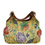 Anuschka Women's Genuine Leather Large Triple Compartment Hobo - Hand Painted Exterior - Caribbean Garden