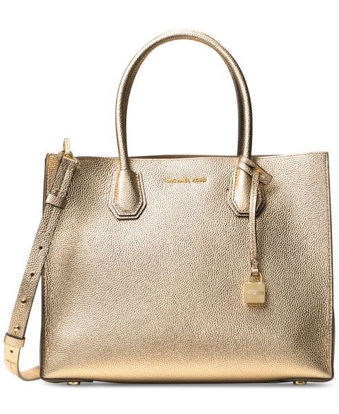 MICHAEL by Michael Kors Mercer Pale Gold Leather Large Tote one size Pale Gold