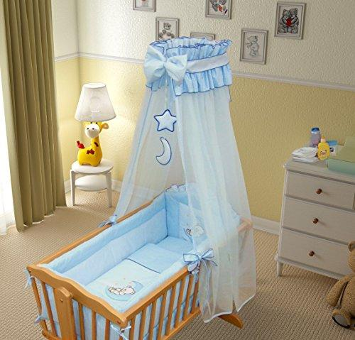 9 Piece Crib Baby Bedding Set 90x40cm Fits Swinging/Rocking Cradle (Moon Blue)