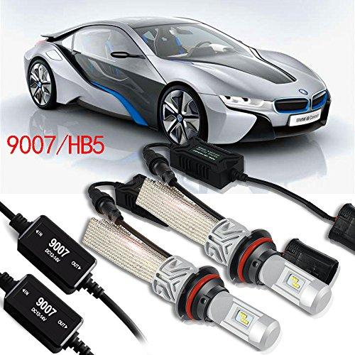9007 HB5 LED Headlight Bulbs CANBUS Error Free 8000LM 6500K PHI-ZES Chips All-in-One Conversion Kit Car Fog light bulb Replace for Halogen or HID Bulbs + 1Pair Decoder , 1 Yr Warranty