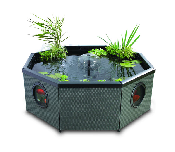 Blagdon Affinity Living Water Feature Pool, Grand Octagon Mocha Weave, Comes with Inpond 5-in-1 3000 Filter Pump with UV Clarifier, LED Spotlight and Three Attractive Fountain Feature Heads