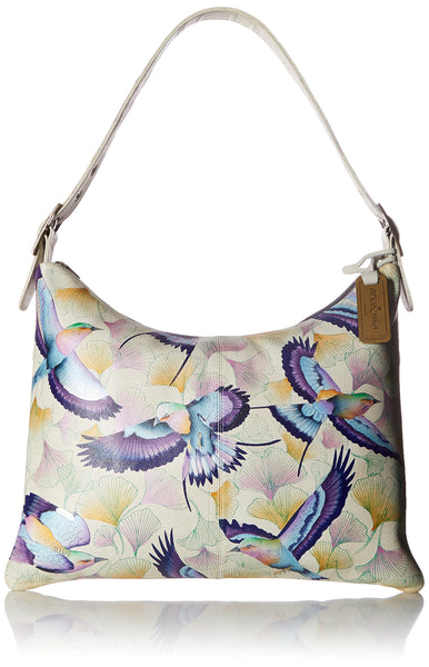 Anuschka Women's Genuine Leather Slim Large Hobo | Hand Painted Exterior | Wings Off Hope
