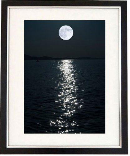 """A Perfect Night"" Black And White Framed Print Of A Full Moon Seascape At Night. Art & Photography Picture, Black & White Prints"