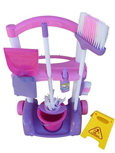 A108, 9 piece toy cleaning set with cleaning carts, trash bags, window cleaner, bucket, brush and cleaner - for small cleaning ladies. Mama help playing ...