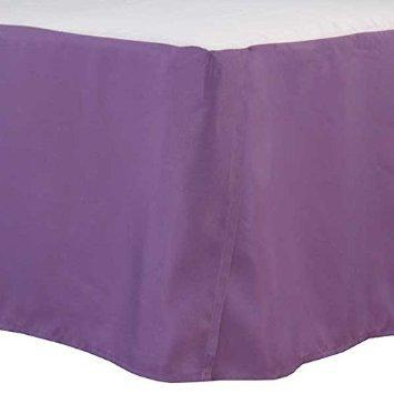 "Aanya Linen 1-Piece Bed Skirt Solid Pattern 12 inches (30 cm) Drop Length 100% Egyptian Cotton 350 Thread Count (Small Double (4ft x 6ft 3""), Lavender)"