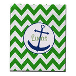 Ababy Personalized Anchor Chevron Fleece Blanket, Emerald, Name Lucas