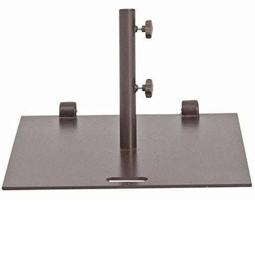 "Abba Patio® 53 lb. Square Steel Market Patio Umbrella Base Stand with Wheel and 2 Separate Poles for 1-1/2"" and 1-7/8'' Diameter Umbrella, 24''L x 24''W, Brown"