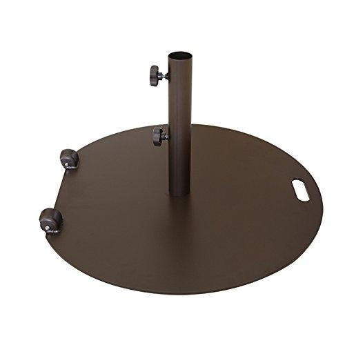 Abba Patio® Round Steel 27.2 inch Diameter Market Patio Umbrella Base Stand with Two Wheels, 55 lbs