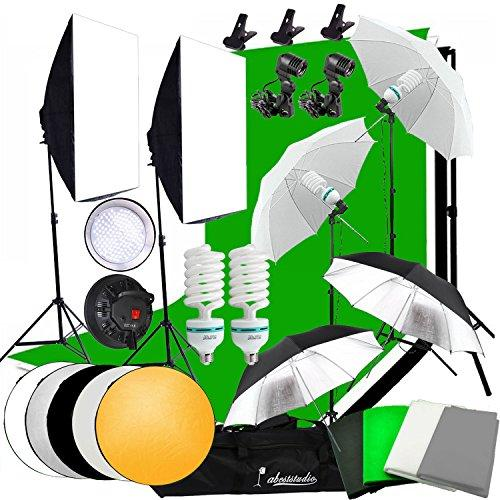 Abeststudio Photo Studio LED Light Softbox Continuous Lighting Kit,4 Backdrops(Black White Green Gray) 2x 135W Bulb 2x 30W LED Lamp 2x Softbox,4x Umbrella,4x Light Stand, 2*3m Background Support Stand