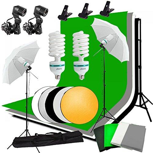 Abeststudio Studio Photography Continuous Lighting Kit 2X 135W Fluorescent Light Set with 4X 1.6*3m Backdrops(Black White Green Gray ), 2X Umbrella, 2x3M Background Support Stand + 60cm 5 in 1 Reflector Panel