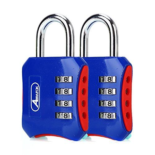 ABRAFOX Padlocks, Heavy Duty 4-Digit Re-settable Combination Codes Locks, Luggage Locks for Gym, Indoor, School or Sports Locker, Toolbox, Fence Daily Use Blue 2pack
