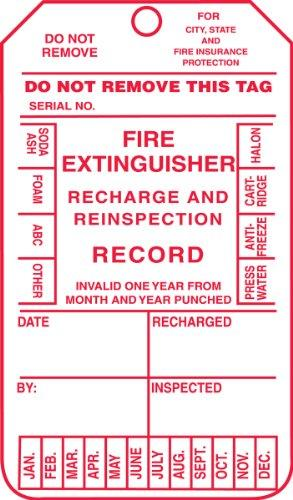 "Accuform MGT210PTP Fire Extinguisher Tag, Legend""FIRE EXTINGUISHER RECHARGE AND REINSPECTION RECORD"", 5.75"" Length x 3.25"" Width x 0.015"" Thickness, RP-Plastic, Red on White (Pack of 25)"