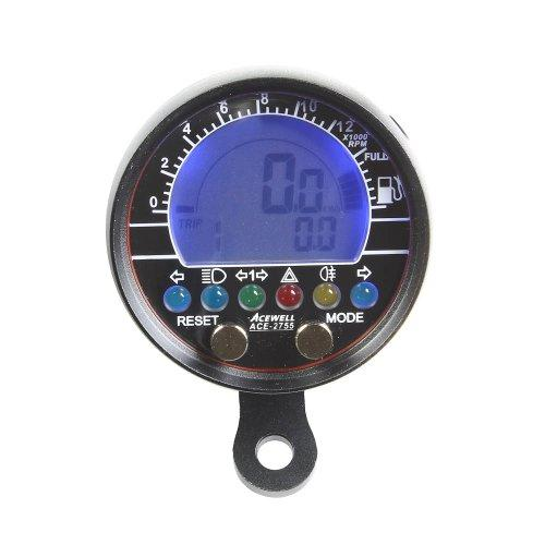 Acewell ACE-2755AS Speedometer and RPM Meter with Fuel Display Aluminium Black