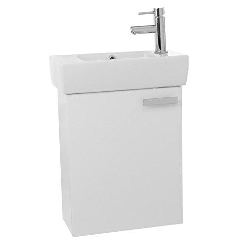 "ACF C137 Cubical Wall Mount Bathroom Vanity with Fitted Ceramic Sink, 19"", Glossy White"