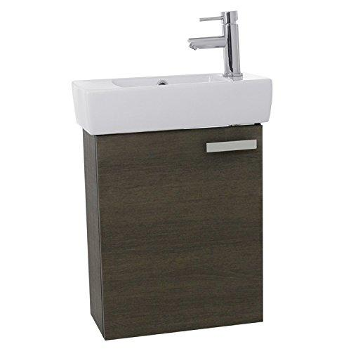"ACF C139 Cubical Wall Mount Bathroom Vanity with Fitted Ceramic Sink, 19"", Grey Oak"