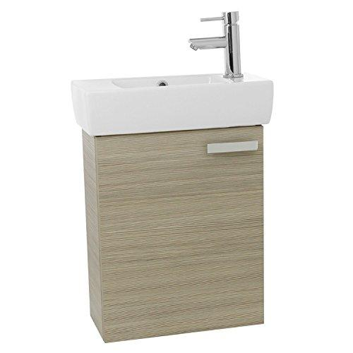 "ACF C140 Cubical Wall Mount Bathroom Vanity with Fitted Ceramic Sink, 19"", Larch Canapa"