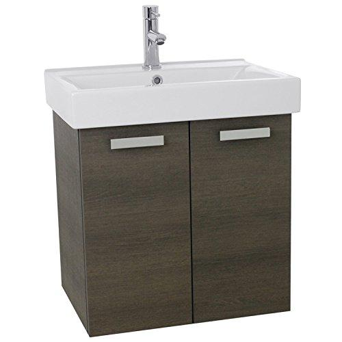 "ACF C143 Cubical Wall Mount Bathroom Vanity with Fitted Ceramic Sink, 24"", Grey Oak"