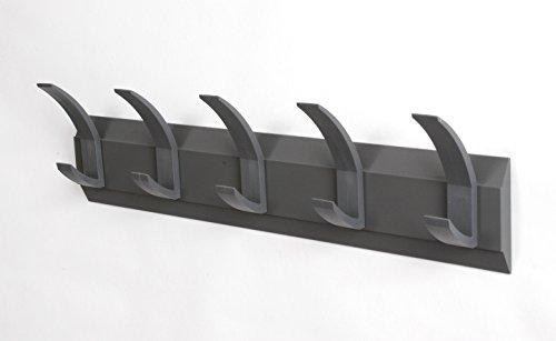 Acorn 'Linear 5' Wall Coat Rack - Graphite Grey Colour