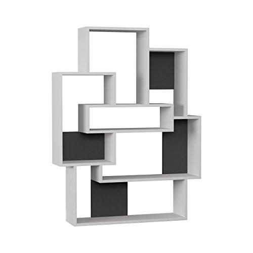 Ada Home Décor DCRB2017 Bernard Bookcase, 40'' x 52'' x 9'', White & Anthracite