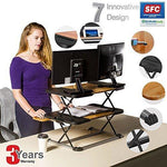 Adjustable standing desk stand Up Ergonomic Computer hight tabel, In 24 Positions/Spacious, Anti-Skid, Stable, Easy Conversion Desk Sit Stand for Home &Office/Black
