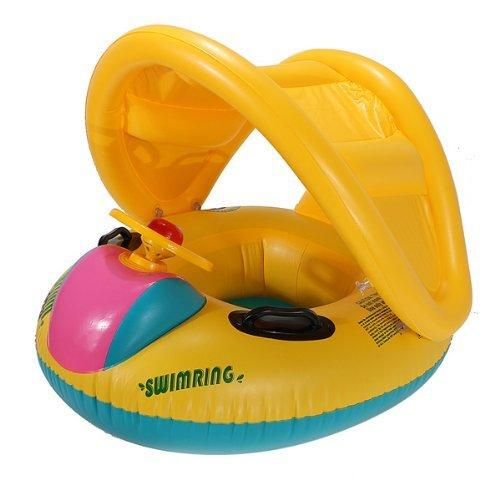 Adjustable Sunshade Baby Swim Float Seat Boat Inflatable Ring by Unknown
