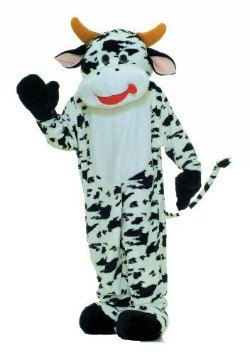 Adult Deluxe Plush Moo Cow Mascot Costume Fancy Dress
