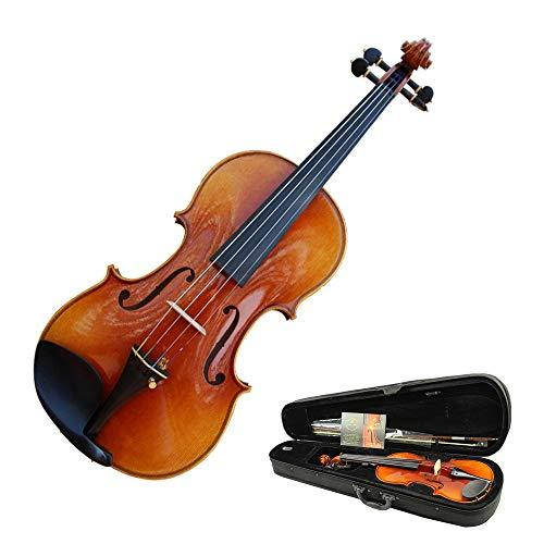 Advanced Professional Acoustic Violin With Hard Case High Glossy Finish Natural Solid Spruce Wood Handcrafted Full Size Fiddle Kit With Bow Rosin For Students Beginners 4/4 , 3/4 , 1/2 , 1/4 , 1/8 Ins