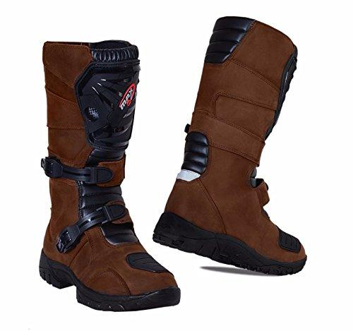 ADVENTURE BOOTS Motorbike MAXFIVE Motorcycle Trials New Style Genuine Leather MX Boots Brown (EU 46/UK 12)