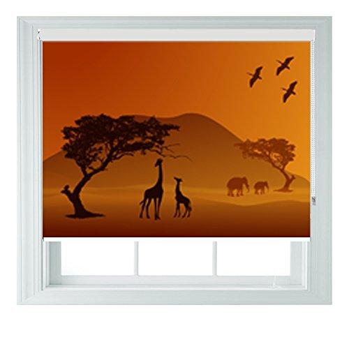African Jungle Animals SUNSET Style Various Sizes Black Out Roller Blinds for Bedrooms Bathrooms Kitchens and Caravans AOA® (4ft 122cm)
