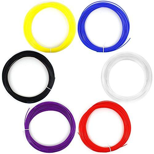 AFUNTA 6PCS 1.75MM 20M / 50G / PCS ABS 3D Print Filament For 3D Printer Pen - Red, purple, bule, black, white, Yellow colour