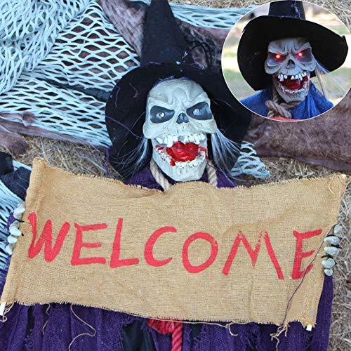 Aida Bz Halloween Hanging Ghost Welcome Ghost Chamber Horror Voice Control  Glow Halloween Tricks Props Decoration Haunted House Props,Purple,40 *