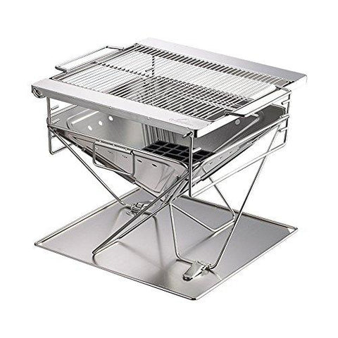 Aihifly-y Durable Outdoor Barbeque Camping Barbecue Furnace Grill Portable Square Folding Charcoal BBQ Stove Made From Stainless Steel For Outdoor And Home Chrome Plated Warming Rack